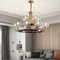 H65 Copper Glass Lampshade Luminous LED Chandelier Light American Living Room Hotel