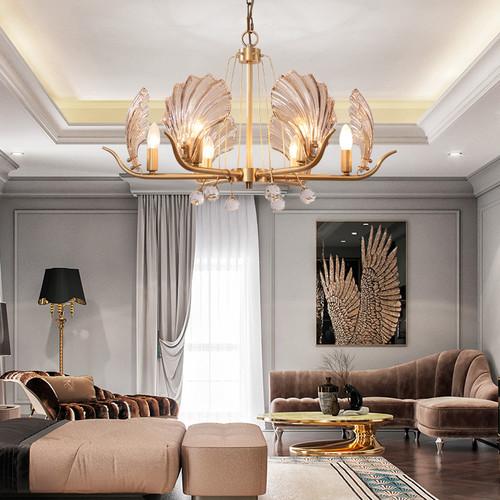 Copper Creative Glass Shell Shape LED Chandelier Light American Living Room Dining Room