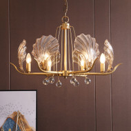 American LED Chandelier Light Copper Creative Glass Shell Shape Living room Dining room from Singapore best online lighting shop horizon lights