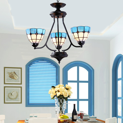 This is the scene picture. Mediterranean Style LED Chandelier Light Glass Lampshade Metal Living room Bedroom Light from Singapore best online lighting shop horizon lights
