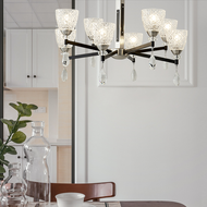 Nordic Style LED Chandelier Light Glass Cup Lampshade Black Metal Luminous Living room Dining room from Singapore best online lighting shop horizon lights