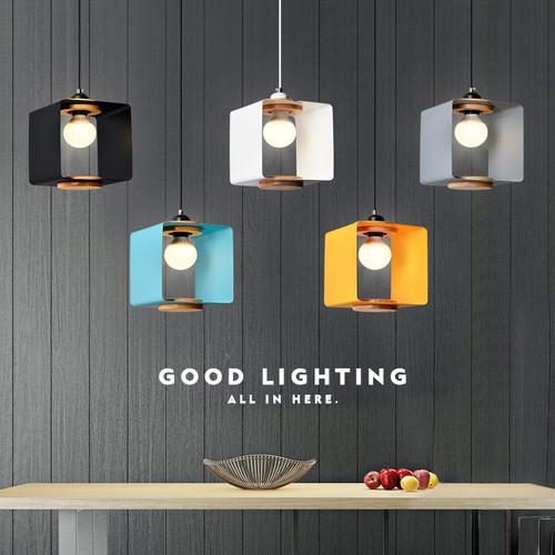 Modern LED Pendant Light Colorful Aluminum Wood Square Shade Cafe Bar Dining room from Singapore best online lighting shop horizon lights