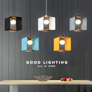 Modern LED Pendant Light Colorful Aluminum Wood Square Shade Cafe Bar Dining room from Singapore best online lighting shop horizon lights