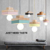 Modern Simple LED Pendant Light Colorful Square/Round Wood Metal Dining Room Cafe Bar from Singapore best online lighting shop horizon lights