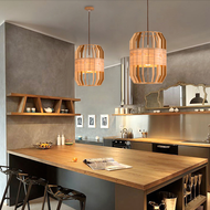 Modern LED Pendant Light Wood Shade Dining Room Restaurant from Singapore best online lighting shop horizon lights