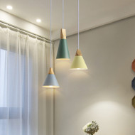 This is the scene picture. Modern Simple LED Pendant Light Metal Wood Colorful Cafe Bar Dining room from Singapore best online lighting shop horizon lights