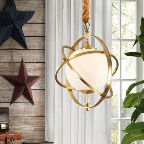 H65 copper pendant light with glass lampshade