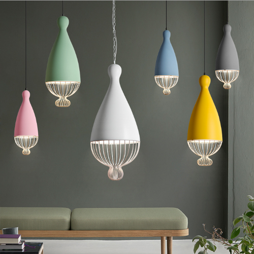 Modern LED Pendant Light Bird Cage Colorful Aluminum Cafe bar Dining room from Singapore best online lighting shop horizon lights