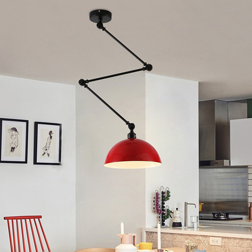 Modern LED Pendant Light Metal Lampshade Extension-type Pole Bedroom Dining room from Singapore best online lighting shop horizon lights