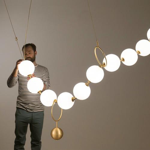 Modern LED Pendant Light Creative Glass Bead Chain Metal Light Living Room Decor from Singapore best online lighting shop horizon lights