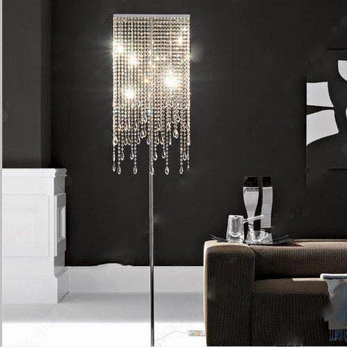 Eurpoean Style LED Floor Lamp K9 Crystal Bead Curtains Shade Luxury Home Decor from Singapore best online lighting shop horizon lights