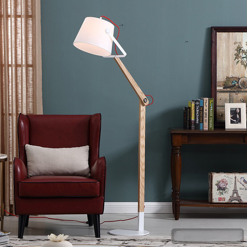 Modern LED Floor Lamp Fabrics Shade Wood Adjustable Pole Protect Eyes Read Study room from Singapore best online lighting shop horizon lights