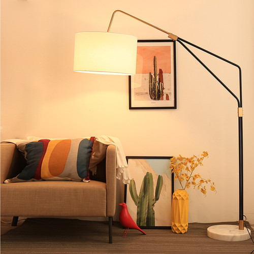 Modern Simple LED Floor Lamp Fabric Shade Metal Pole Marble Base Fishing Lamp  from Singapore best online lighting shop horizon lights