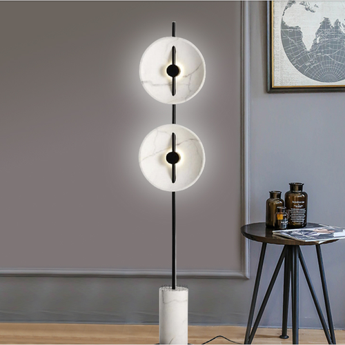 Modern LED Floor Lamp Marble Disc Shade Minimalism Home Hotel Decor from Singapore best online lighting shop horizon lights