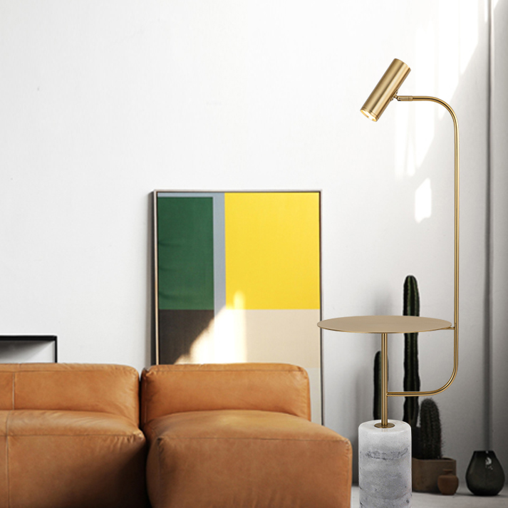 Post Modern Led Floor Lamp Marble Base Metal Table Living Room
