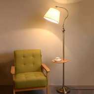Vienna White, Stick Floor Lamp with shelf for Vintage and Traditional (main)