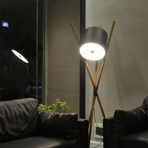 Modern LED Floor Lamp Leather Shade Wood Tripod Living Room Study Room Decor from Singapore best online lighting shop horizon lights