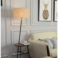Modern Simple LED Floor Lamp Cloth Shade Wood Tea Table Practical Home Decor from Singapore best online lighting shop horizon lights occasion-1