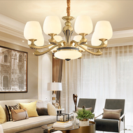 American Style LED Chandelier Light Glass Lampshade H65 Copper Classical Decoration from Singapore best online lighting shop horizon lights