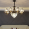 Crystal Lampshade Metal LED Chandelier Light American Living Room Decor