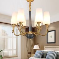 Copper Deer Head Glass Shade LED Chandelier Light American Living Room Decor
