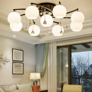 Modern LED Chandelier Light Glass Shade Crystal Metal Bedroom Living room from Singapore best online lighting shop horizon lights