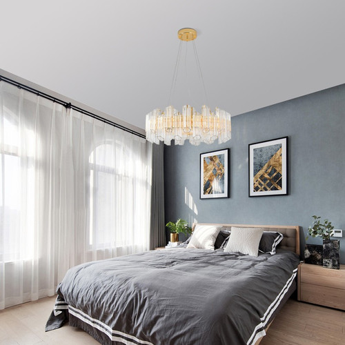 Nordic LED Chandelier Light Crystal Lampshade Luxurious Home Hotel Decor from Singapore best online lighting shop horizon lights image-1