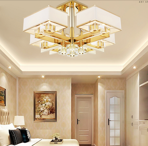 European style LED Chandelier Light Fabric Square Lampshade Stainless steel Living room from Singapore best online lighting shop horizon lights