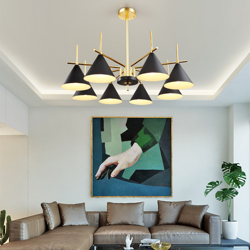 Panorama: post modern style chandelier, in the living room