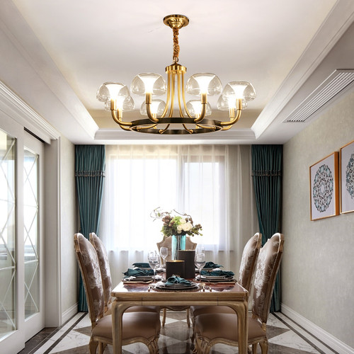 American LED Chandelier Light Glass Jellyfish Shade Copper Bedroom Living Room Decor from Singapore best online lighting shop horizon lights