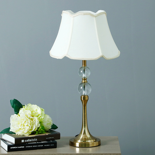American Country LED Table Lamp Fabric Lampshade K9 Crystal Decorate Elegant Bedroom Beside from Singapore best online lighting shop horizon lights