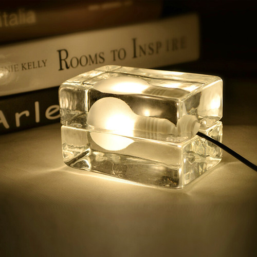 Modern LED Table Lamp Glass Ice Cube Shape Bedside Shop Cafe Decor from Singapore best online lighting shop horizon lights