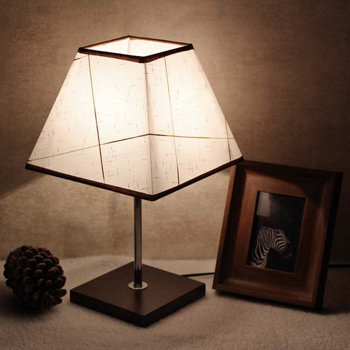 Modern Simple LED Table Lamp 2PCS Fabric Striated Lampshade Practical Study Room Bedroom from Singapore best online lighting shop horizon lights