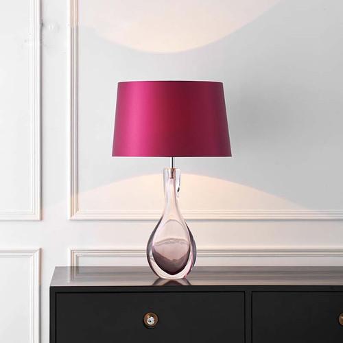 Modern LED Table Lamp Purple Fabric Lampshade Glass Holder Romantic Home Decor from Singapore best online lighting shop horizon lights