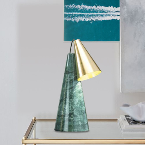 Modern LED Table Lamp Cone Metal Shade Marble Base Bedroom Bar Decor from Singapore best online lighting shop horizon lights