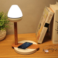 Modern LED Table Lamp ABS Shade Wood Eyeshield Wireless Charging Bedsid Light from Singapore best online lighting shop horizon lights