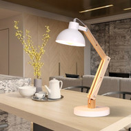 Modern LED Table Lamp Metal Shade Wood Adjustable Bedroom Study Room Illumination from Singapore best online lighting shop horizon lights