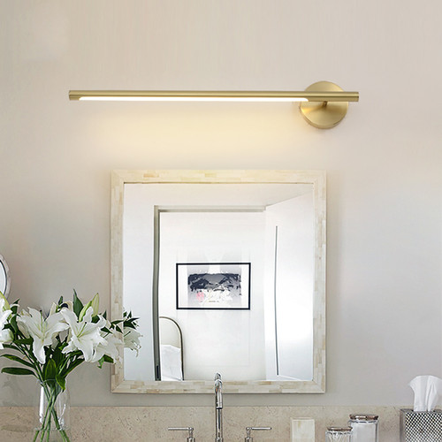 Modern LED Mirror Wall Light H65 Copper Acrylic Pole Shape Bathroom Dresser Decor from Singapore best online lighting shop horizon lights