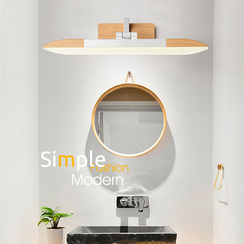 Modern LED wall light installs above the sink, in the bathroom, panorama