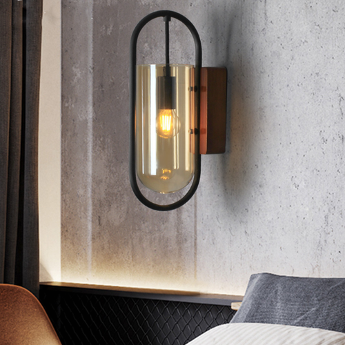 Modern LED Wall Light Wood Base Glass Jar Lampshade Corridor Cafe Bedroom Lighting from Singapore best online lighting shop horizon lights