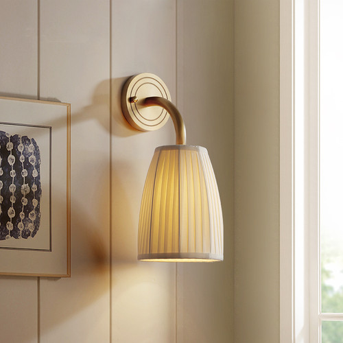 American LED Wall Light Cloth Shade H65 Copper Bedside Corrider Decor from Singapore best online lighting shop horizon lights