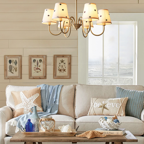American Style LED Chandelier Light Fabric Lampshade H65 Copper Pentacle Pattern Living Room from Singapore best online lighting shop horizon lights