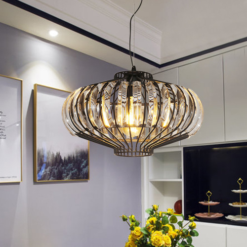 Modern LED Pendant Light K9 Crystal Metal Chinese Lantern Shape Hallway Living Room from Singapore best online lighting shop horizon lights