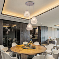 Modern LED Pendant Light K9 Crystal Lampshade Metal Dining Room Bar from Singapore best online lighting shop horizon lights