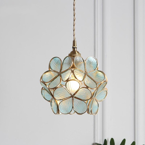 Japanese-style LED Pendant Light Flower Lampshade Glass Copper / Metal Bedroom Dining Room from Singapore best online lighting shop horizon lights