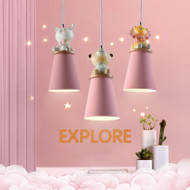 Modern LED Pendant Light Metal Resin Animal Decor Cute Children Bedroom from Singapore best online lighting shop horizon lights