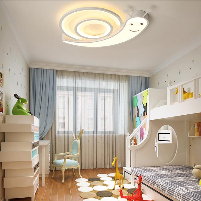 Modern Led Ceiling Light Acrylic Snail Shape Cute Kids Bedroom Lighting