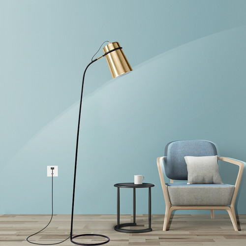 Modern LED Floor Lamp Metal Gold Lampshade Creative Living Room Reading Lighting from Singapore best online lighting shop horizon lights