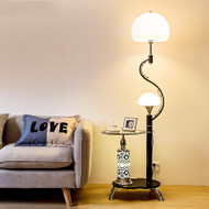Modern LED Floor Lamp Glass Flower Shape Lampshade Table Metal Multifunction Living Room from Singapore best online lighting shop horizon lights
