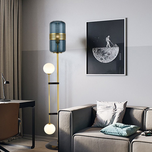 Modern LED Floor Lamp Copper Glass Artistic Bedroom Living Room Decor from Singapore best online lighting shop horizon lights